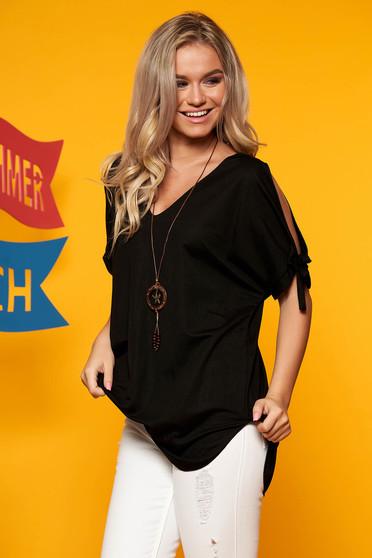 Bluza dama SunShine neagra cu umeri decupati cu decolteu in v cu accesoriu inclus