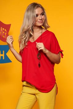 Bluza dama SunShine rosie cu umeri decupati cu decolteu in v cu accesoriu inclus