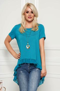 Bluza dama SunShine turcoaz casual cu croi larg asimetrica cu volanase cu accesoriu inclus