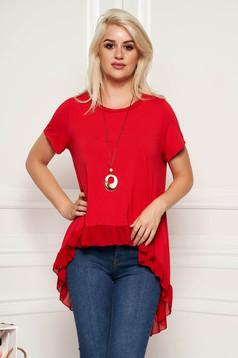 Bluza dama SunShine rosie casual cu croi larg asimetrica cu volanase cu accesoriu inclus