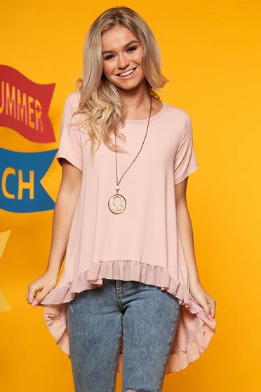 Bluza dama SunShine roz prafuit casual cu croi larg asimetrica cu volanase cu accesoriu inclus