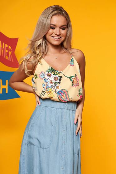 Top SunShine galben casual cu croi larg bretele subtiri cu imprimeu floral cu decolteu in v