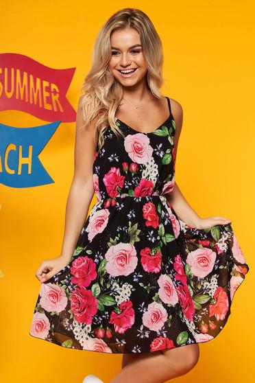 Rochie SunShine neagra de zi din voal in clos cu imprimeu floral cu bretele ajustabile