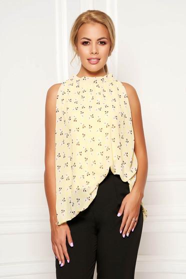 Top SunShine galben casual din voal cu imprimeu floral fara maneci