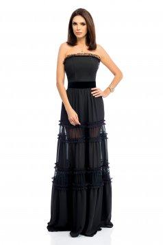 Rochie neagra rochii maxi eleganta de ocazie in clos tip corset