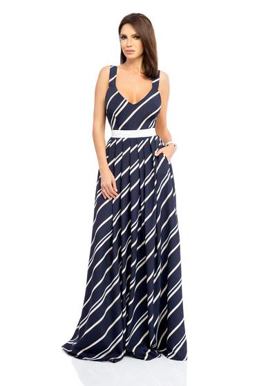 Rochie albastru-inchis lunga eleganta cu decolteu adanc fara maneci