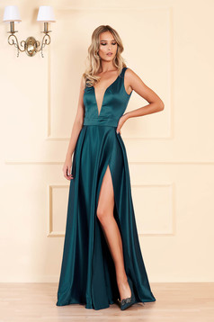 Dirty green dress cloche cut material with v-neckline from satin occasional