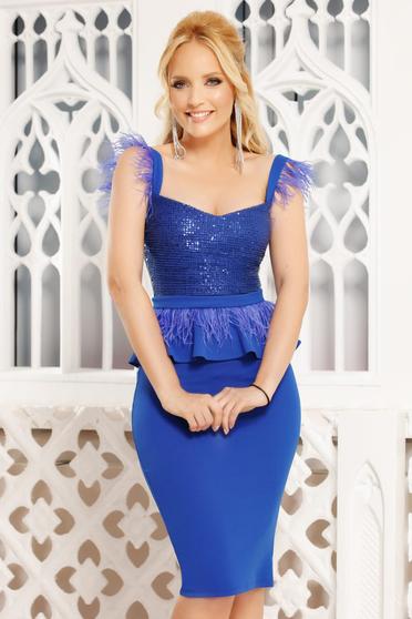 Rochie Fofy albastra eleganta de ocazie midi tip creion cu peplum decolteu adanc si bretele
