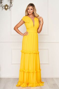 Yellow dress with v-neckline with ruffle details from veil fabric