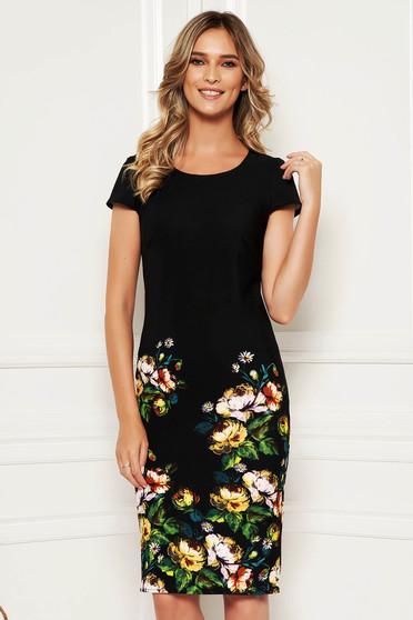 Rochie neagra eleganta de ocazie midi tip creion din material reiat cu imprimeu floral si maneca scurta