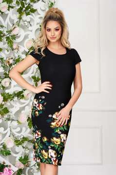 Black dress from striped fabric midi pencil with floral print office