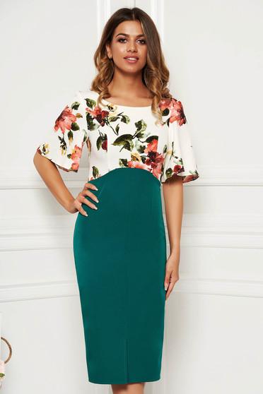 Rochie verde eleganta de zi midi tip creion cu maneci tip fluture cu imprimeu floral din material usor elastic