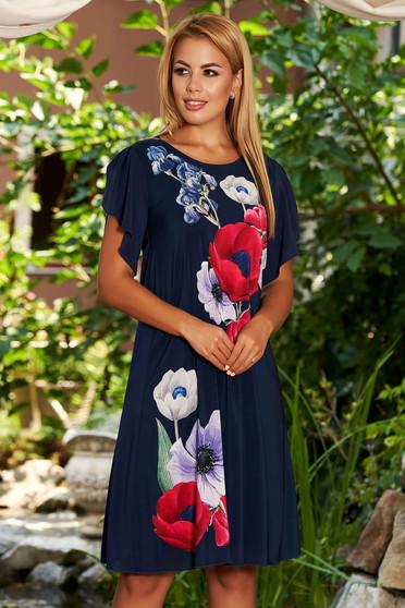 Rochie StarShinerS albastru-inchis midi eleganta cu croi larg din voal cu imprimeu floral cu maneci din voal tip fluture