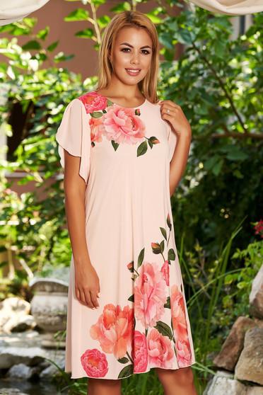 Rochie StarShinerS piersica eleganta de zi din voal in clos cu imprimeu floral cu maneci tip fluture