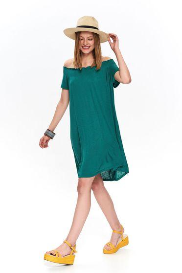Rochie Top Secret verde casual de zi cu croi larg cu banda elastica si umeri goi