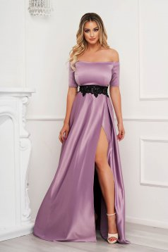 Occasional lila dress from satin fabric texture with embroidery details cloche long