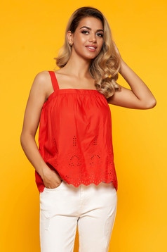 Red top shirt casual flared with straps