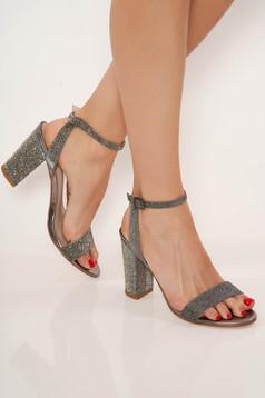 Sandale Top Secret argintii elegante din piele ecologica cu toc gros cu barete subtiri