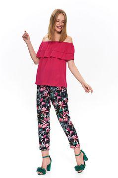 Bluza dama Top Secret roz-inchis casual cu croi larg si umeri goi