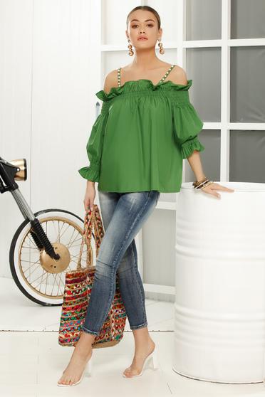 Bluza dama verde-deschis casual cu umeri goi cu croi larg cu maneca 3/4 din material subtire
