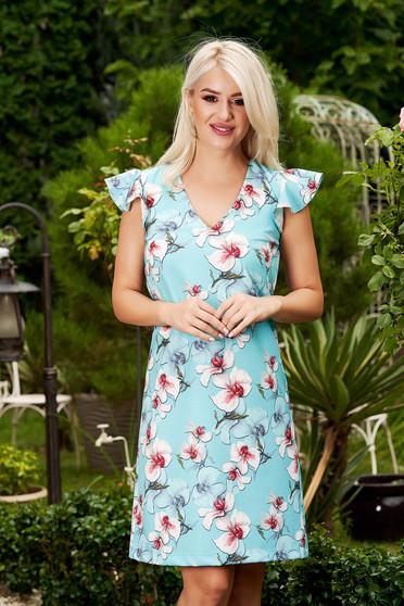 Rochie StarShinerS albastru-deschis eleganta scurta din stofa cu decolteu in v si volanase la bretele