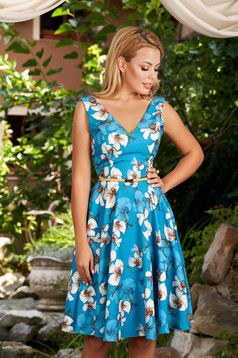 StarShinerS blue dress cloche with floral print with deep cleavage daily midi