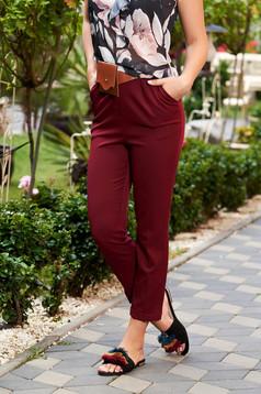 Pantaloni SunShine visinii casual cu un croi drept cu talie medie cu buzunare si accesoriu tip curea