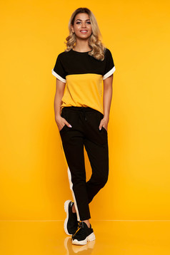 Set SunShine mustariu sport din 2 piese din bumbac si lycra cu pantaloni cu buzunare