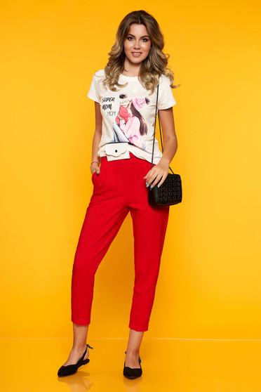 Pantaloni SunShine rosii casual cu un croi drept cu buzunare in fata si elastic in talie