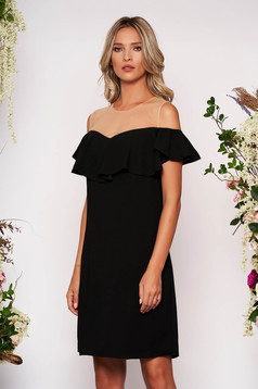 Black dress elegant straight midi with ruffles on the chest net shoulders without clothing