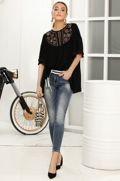 Bluza dama neagra cu croi larg cu maneca 3/4 din material vaporos