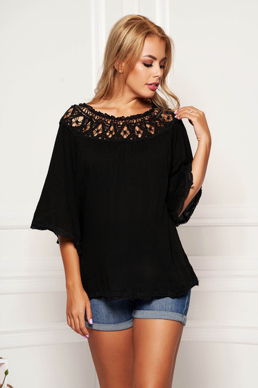 Bluza dama neagra casual scurta cu croi larg din material vaporos cu maneci trei-sferturi