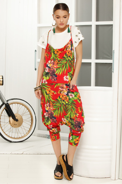 Red jumpsuit casual flared with floral print loose cut and rise with straps