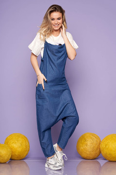 Blue jumpsuit casual flared long with thin straps