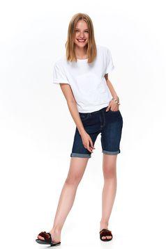 Pantalon scurt Top Secret albastru casual din denim cu talie medie pana la genunchi