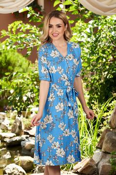 Rochie Top Secret albastra midi de zi in clos cu decolteu in v si imprimeu floral