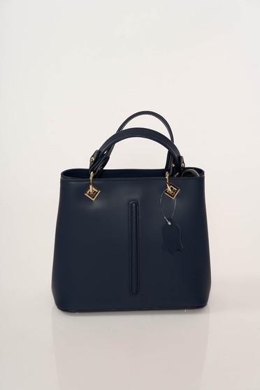 Geanta dama albastru-inchis office din piele naturala cu accesorii metalice