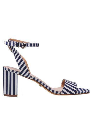 Sandale Top Secret albastru-inchis casual cu dungi cu toc gros cu barete subtiri