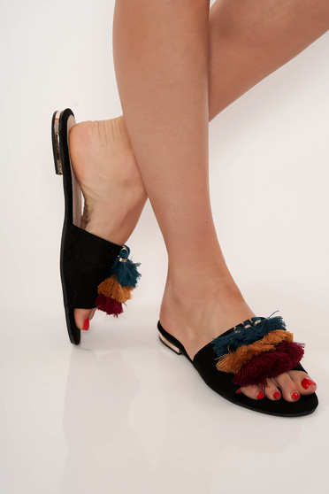 Papuci Top Secret negri casual cu talpa joasa cu ciucuri