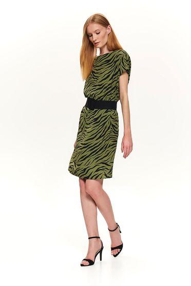 Rochie Top Secret verde casual scurta cu un croi drept cu elastic in talie si animal print