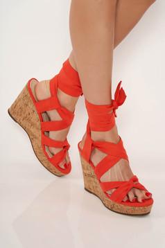 Sandale Top Secret portocalii casual se leaga pe picior