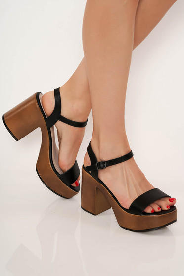 Sandale Top Secret negre casual cu toc gros cu barete subtiri
