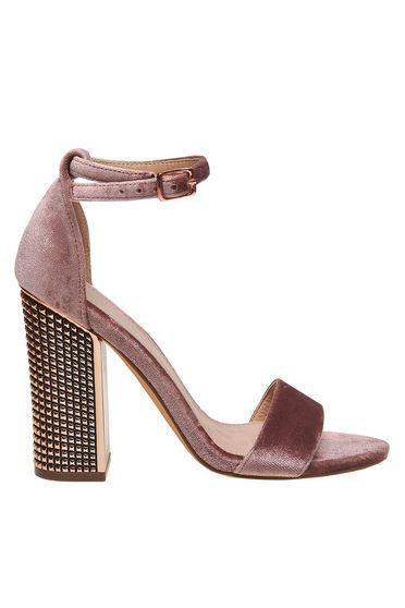 Sandale Top Secret roz prafuit de party din material catifelat cu barete subtiri cu toc gros