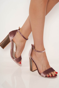 Lightpink sandals clubbing with thin straps from velvet fabric chunky heel