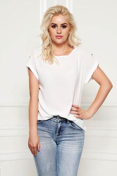 Bluza dama StarShinerS alba eleganta cu croi larg din material subtire si transparent