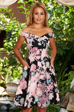 Rochie StarShinerS neagra eleganta in clos din stofa cu buzunare bust captusit si imprimeu floral