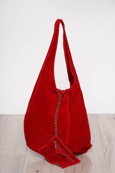 Geanta dama rosie casual cu manere de lungime medie si accesoriu inclus