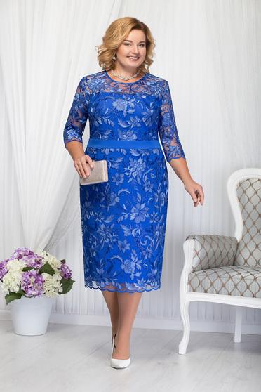 Rochie albastra eleganta de ocazie cu un croi drept midi cu maneci trei-sferturi din dantela