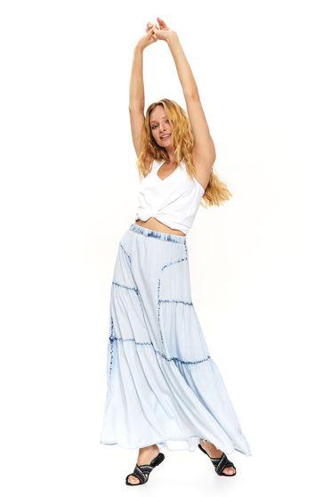 Fusta Top Secret albastra casual in clos cu talie medie cu elastic