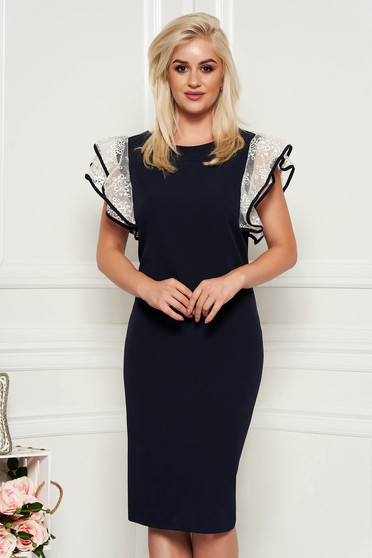 Rochie albastru-inchis eleganta midi tip creion din stofa usor elastica cu maneci din voal